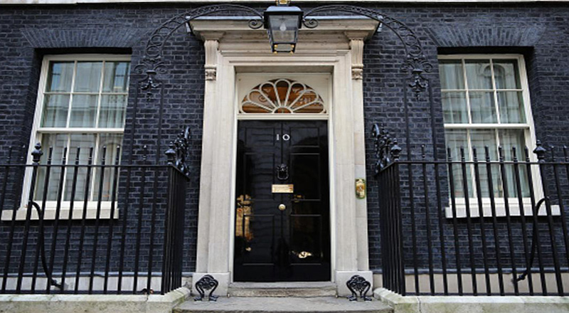 LONDON, ENGLAND - FEBRUARY 17:  A general view of Number 10 Downing Street's front door on February 17, 2015 in London, England.  (Photo by Dan Kitwood/Getty Images)